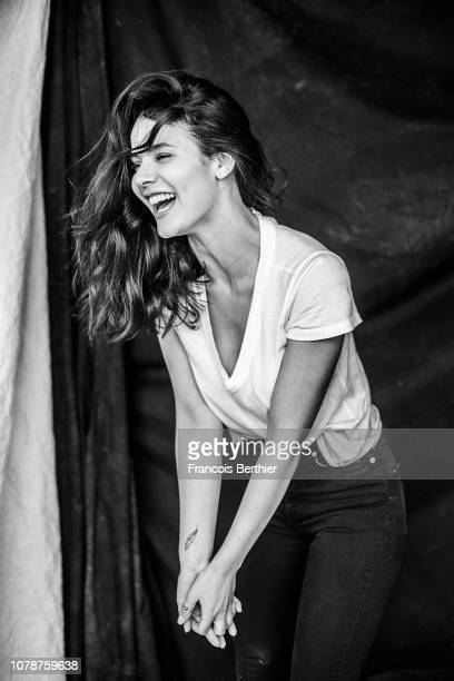 Actress Kahina Carina poses for a portrait on December 2018 in Paris France