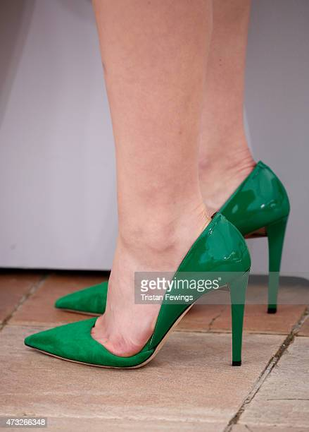 Actress Kaho shoe detail attend a photocall for 'Umimachi Diary' during the 68th annual Cannes Film Festival on May 14 2015 in Cannes France
