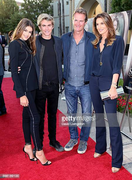 Actress Kaia Gerber model Presley Gerber businessman Rande Gerber and model Cindy Crawford attend the premiere of Lifetime's Sister Cities at...