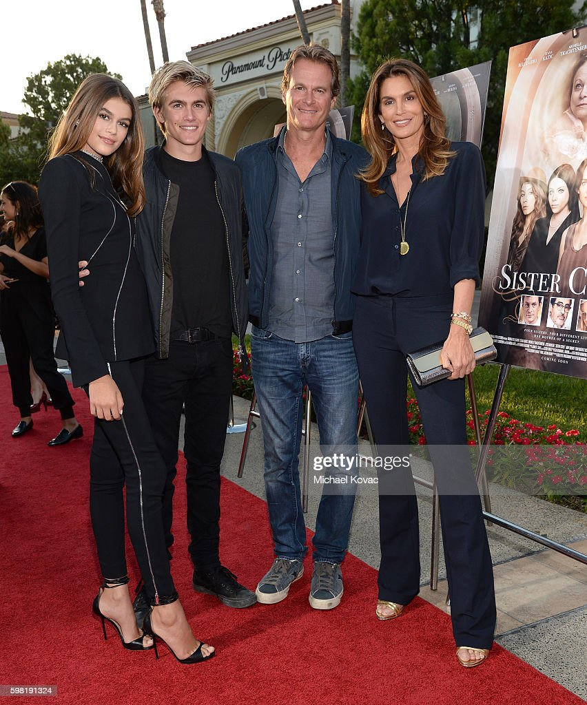 Actress Kaia Gerber, model Presley Gerber, businessman Rande Gerber and model Cindy Crawford attend the premiere of Lifetime's 'Sister Cities' at Paramount Theatre on August 31, 2016 in Hollywood, California.