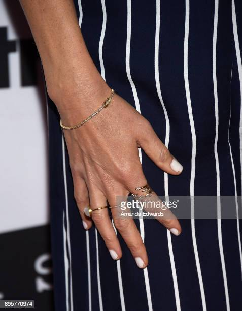 """Actress Kaitlin Olson, jewelry detail, arrives at the premiere of truTV's """"I'm Sorry"""" at the SilverScreen Theater at the Pacific Design Center on..."""