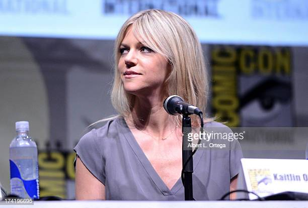 Actress Kaitlin Olson speaks onstage at the It's Always Sunny In Philadelphia screening and QA during ComicCon International 2013 at San Diego...