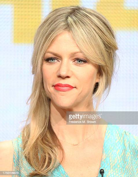 Actress Kaitlin Olson speaks onstage during the 'It's Always Sunny in Philadelphia' panel discussion at the FX portion of the 2013 Summer Television...