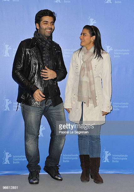 Actress Kajol and director Karan Johar attend the 'My Name Is Khan' Photocall during day two of the 60th Berlin International Film Festival at the...