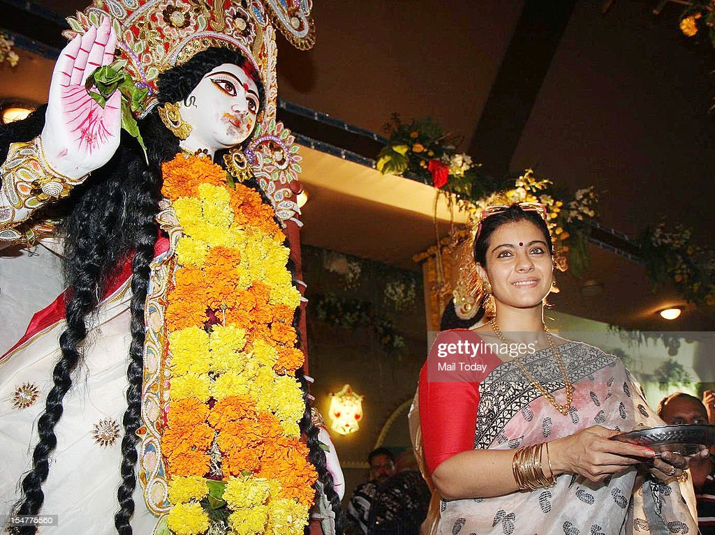 Actress Kajol at North Bombay Sarbojanin Durga Puja in Mumbai