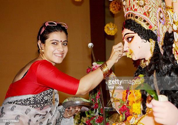 Actress Kajol at North Bombay Sarbojanin Durga Puja in Mumbai