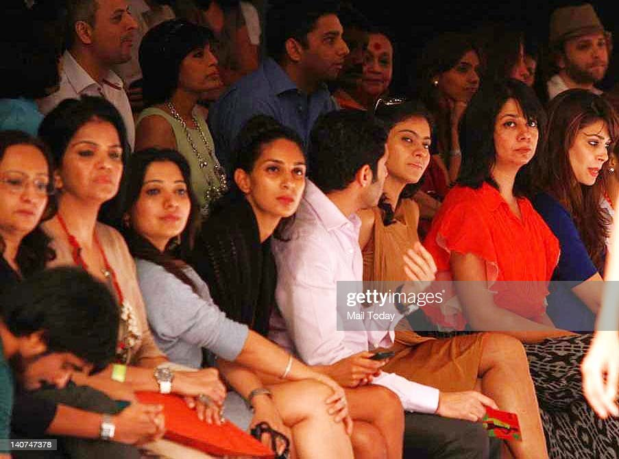 Actress Kajol seen in the audience at designer Payal Singhal show during the Lakme Fashion Week 2012 in Mumbai
