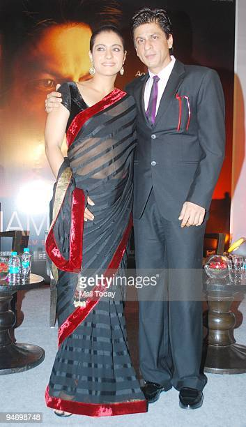 """Actress Kajol with actor Shah Rukh Khan during a first look screening for the movie """"My Name is Khan"""" in Mumbai on Wednesday, December 16, 2009."""