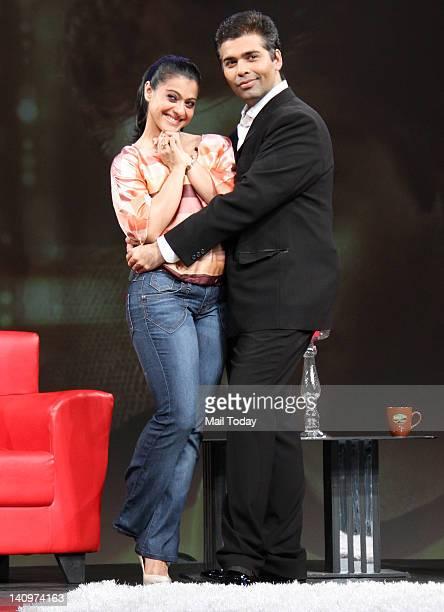 Actress Kajol with Karan Johar on the sets of show Issi Ka Naam Zindagi