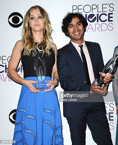 Actress Kaley Cuoco and actor Kunal Nayyar pose in the press room at the 40th annual People's Choice Awards at Nokia Theatre LA Live on January 8...