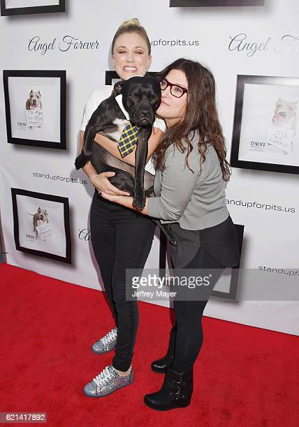 Actress Kaley Cuoco and comedian Rebecca Corry arrive at the Stand Up For Pits at The Hollywood Improv on November 5, 2016 in Hollywood, California