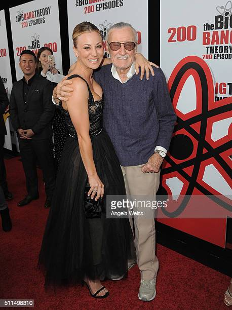 Actress Kaley Cuoco and comic book writer Stan Lee arrive at CBS's 'The Big Bang Theory' Celebrates 200th Episode at Vibiana on February 20 2016 in...