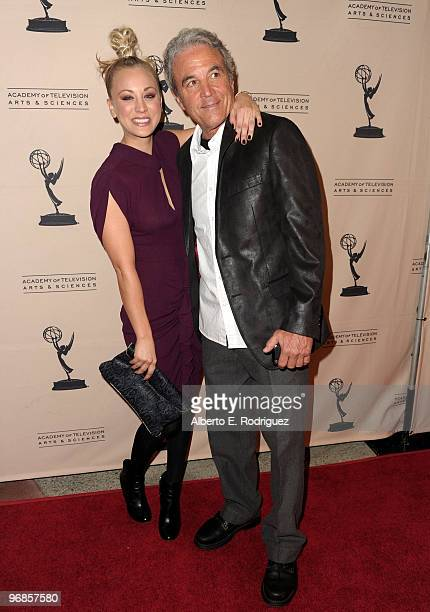 Actress Kaley Cuoco and father Gary Cuoco arrive at The Academy of Television Arts and Sciences' an evening with The Big Bang Theory on February 18...