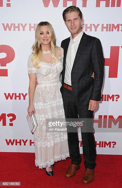 Actress Kaley Cuoco and Karl Cook arrive at the Los Angeles Premiere Why Him at Regency Bruin Theater on December 17 2016 in Westwood California