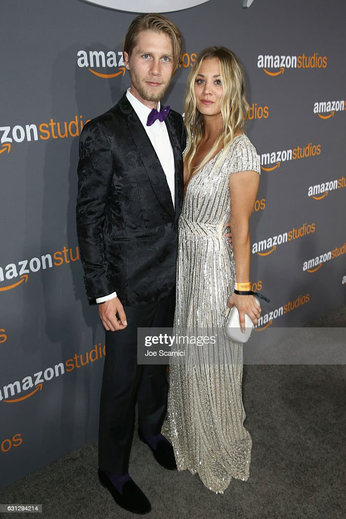 Actress Kaley Cuoco (R) and Karl Cook attend Amazon Studios Golden Globes Celebration at The Beverly Hilton Hotel on January 8, 2017 in Beverly Hills, California.