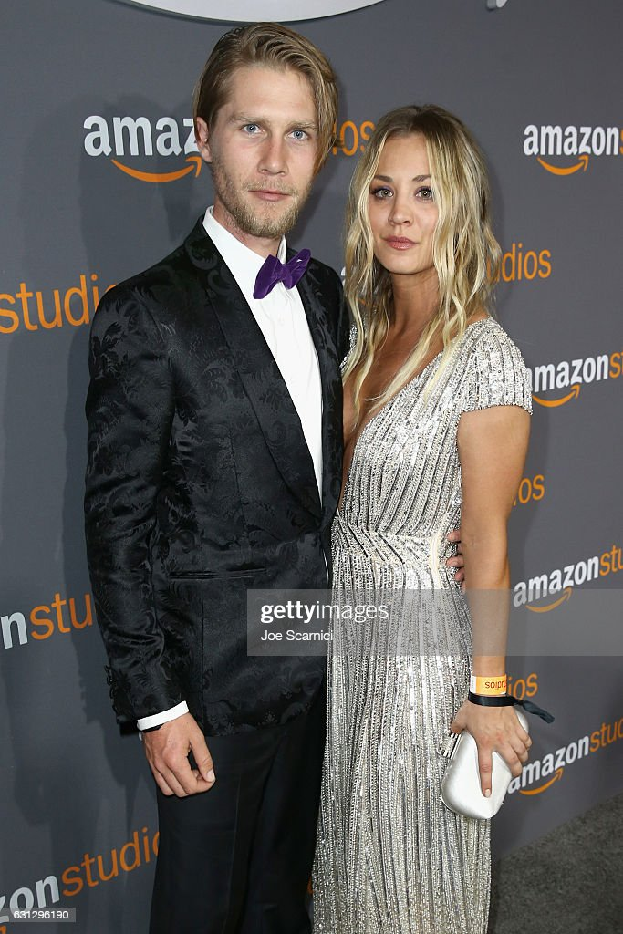 Actress Kaley Cuoco (R) and Karl Cook attends Amazon Studios Golden Globes Celebration at The Beverly Hilton Hotel on January 8, 2017 in Beverly Hills, California.