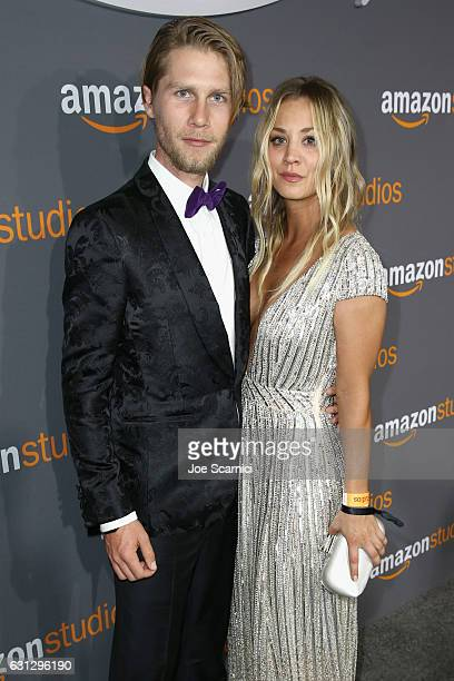 Actress Kaley Cuoco and Karl Cook attends Amazon Studios Golden Globes Celebration at The Beverly Hilton Hotel on January 8 2017 in Beverly Hills...