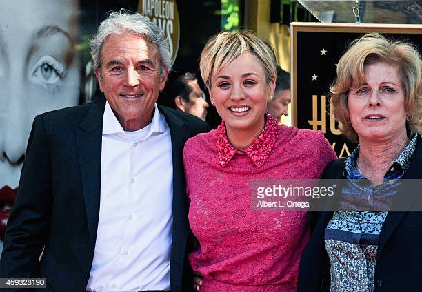 Actress Kaley Cuoco and parents Gary and Layne Ann at The Hollywood Walk Of Fame ceremony for Kaley Cuoco on October 29 2014 in Hollywood California