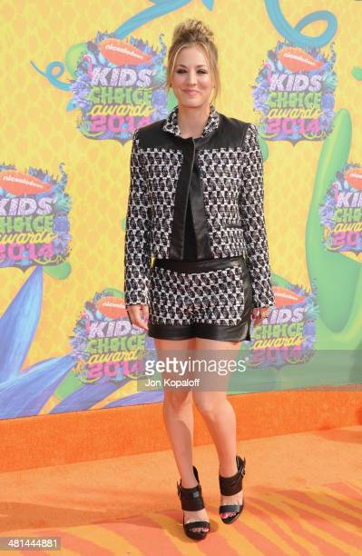 Actress Kaley Cuoco arrives at Nickelodeon's 27th Annual Kids' Choice Awards at USC Galen Center on March 29 2014 in Los Angeles California
