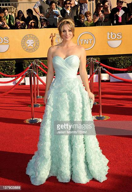 Actress Kaley Cuoco arrives at the 18th Annual Screen Actors Guild Awards at The Shrine Auditorium on January 29, 2012 in Los Angeles, California.