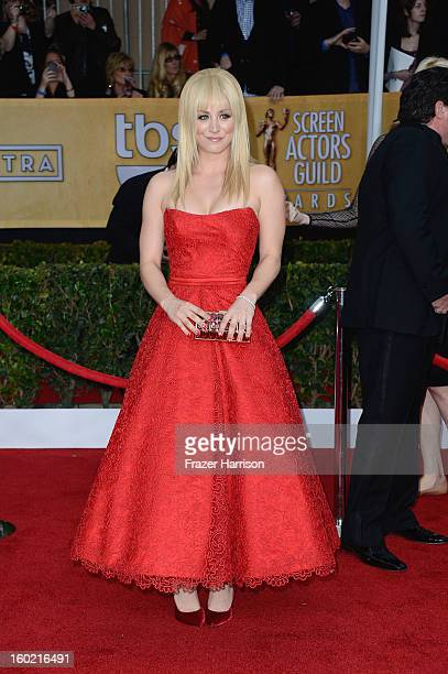 Actress Kaley Cuoco arrives at the 19th Annual Screen Actors Guild Awards held at The Shrine Auditorium on January 27 2013 in Los Angeles California