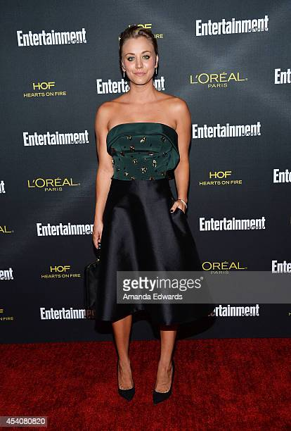 Actress Kaley Cuoco arrives at the 2014 Entertainment Weekly PreEmmy Party at Fig Olive Melrose Place on August 23 2014 in West Hollywood California
