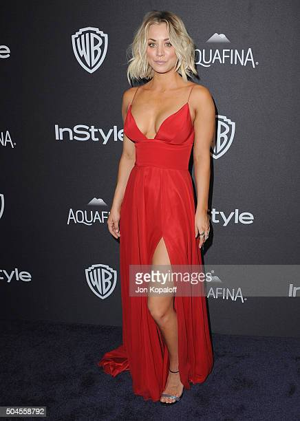 Actress Kaley Cuoco arrives at the 2016 InStyle And Warner Bros 73rd Annual Golden Globe Awards PostParty at The Beverly Hilton Hotel on January 10...