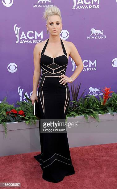 Actress Kaley Cuoco arrives at the 48th Annual Academy Of Country Music Awards at MGM Grand Garden Arena on April 7 2013 in Las Vegas Nevada