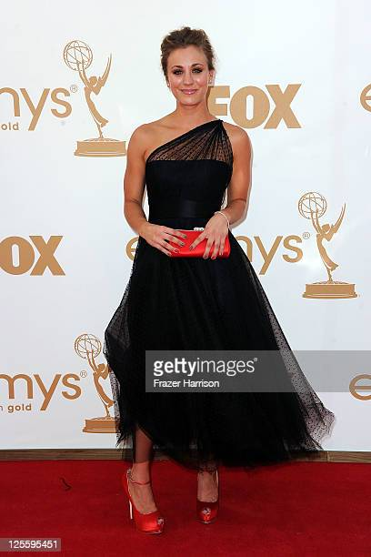 Actress Kaley Cuoco arrives at the 63rd Annual Primetime Emmy Awards held at Nokia Theatre LA LIVE on September 18 2011 in Los Angeles California