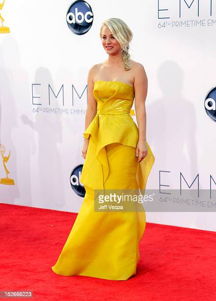 Actress Kaley Cuoco arrives at the 64th Primetime Emmy Awards at Nokia Theatre LA Live on September 23 2012 in Los Angeles California
