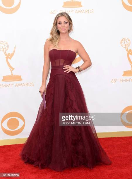 Actress Kaley Cuoco arrives at the 65th Annual Primetime Emmy Awards held at Nokia Theatre LA Live on September 22 2013 in Los Angeles California
