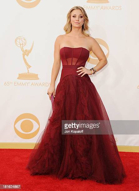 Actress Kaley Cuoco arrives at the 65th Annual Primetime Emmy Awards at Nokia Theatre L.A. Live on September 22, 2013 in Los Angeles, California.
