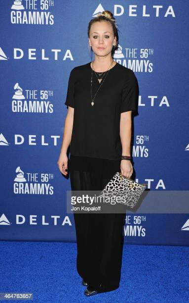 Actress Kaley Cuoco arrives at the Delta Air Lines 2014 GRAMMY Weekend Private Reception And Performance With Lorde at Soho House on January 23 2014...