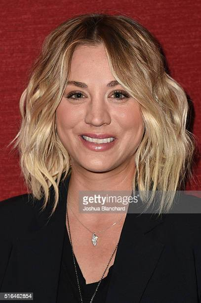 Actress Kaley Cuoco arrives at the opening of Monterey Media Inc's 'Burning Bodhi' at Laemmle Monica Film Center on March 18 2016 in Santa Monica...