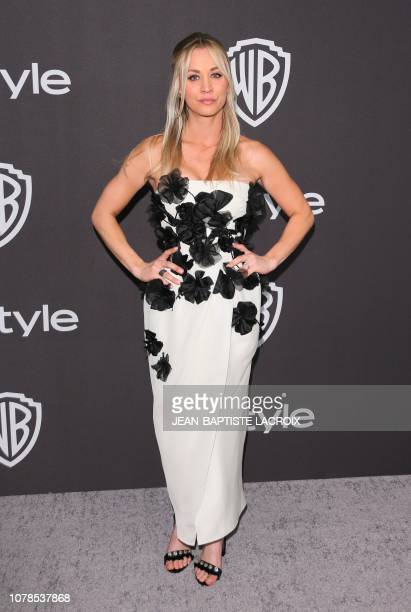 Actress Kaley Cuoco arrives for the Warner Bros and In Style 20th annual post Golden Globes party at the Oasis Courtyard of the Beverly Hilton hotel...