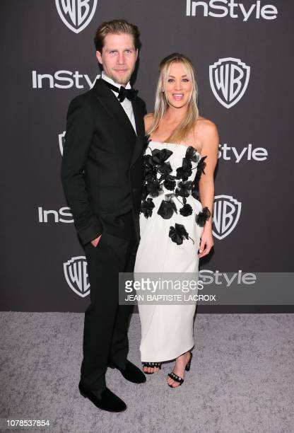 Actress Kaley Cuoco arrives with husband Karl Cook for the Warner Bros and In Style 20th annual post Golden Globes party at the Oasis Courtyard of...