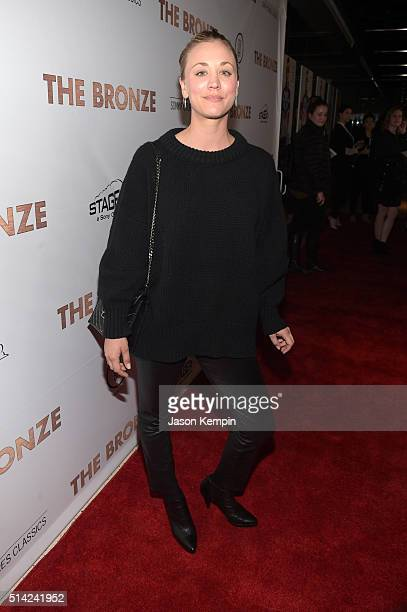Actress Kaley Cuoco attends the premiere of Sony Pictures Classics' 'The Bronze' at the Regent Theater on March 7 2016 in Los Angeles California