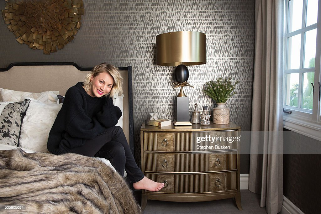 Actress Kaley Cuoco is photographed in her new bedroom at her home for Wayfair.com on December 9, 2015 in Los Angeles, California.