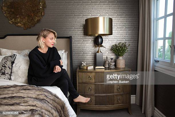 Actress Kaley Cuoco is photographed in her new bedroom at her home for Wayfaircom on December 9 2015 in Los Angeles California