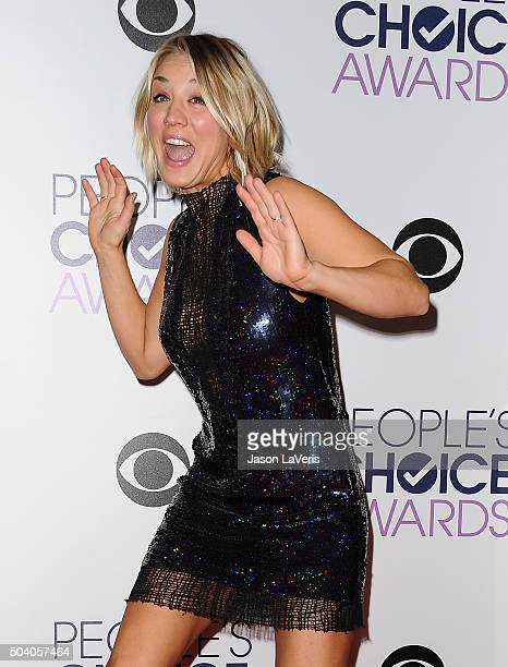Actress Kaley Cuoco poses in the press room at the 2016 People's Choice Awards at Microsoft Theater on January 6 2016 in Los Angeles California