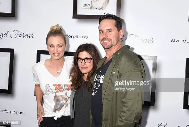 Actress Kaley Cuoco, Rebecca Corry and Chad Atkins arrive at the Stand Up For Pits at The Hollywood Improv on November 5, 2016 in Hollywood,...