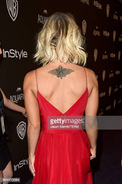 Actress Kaley Cuoco tattoo detail attends The 2016 InStyle And Warner Bros 73rd Annual Golden Globe Awards PostParty at The Beverly Hilton Hotel on...
