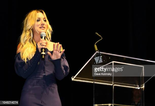 Actress Kaley Cuoco the voice of the Harley Quinn makes special appearance during DC UNIVERSE's Titans World Premiere on October 3 2018 in New York...