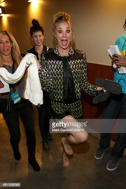 Actress Kaley CuocoSweeting backstage at Nickelodeon's 27th Annual Kids' Choice Awards held at USC Galen Center on March 29 2014 in Los Angeles...