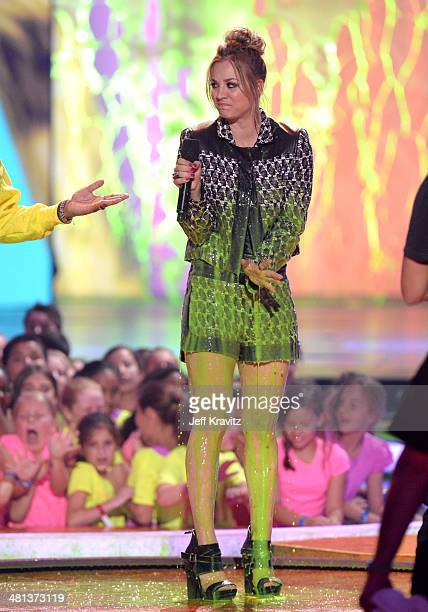 Actress Kaley CuocoSweeting stands onstage after getting slimed at Nickelodeon's 27th Annual Kids' Choice Awards at USC Galen Center on March 29 2014...