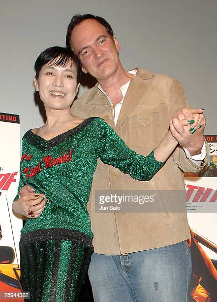 Actress Kaori Momoi and Director Quentin Tarantino attend Quentin Tarantino's Death Proof Stage Greeting at the Toho Cinemas Roppongi Hills on August...