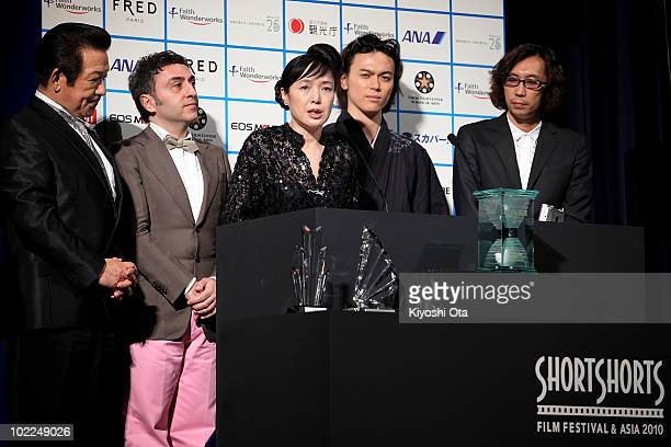 Actress Kaori Momoi annouces the Grand Prix of the Grand Prix of the Short Shorts Film Festival Asia 2010 with other official jury members TV...