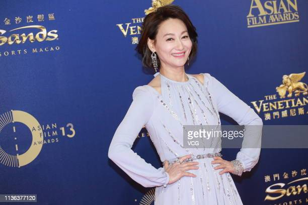 Actress Kara Hui Yinghung poses on the red carpet of the 13th Asian Film Awards on March 17 2019 in Hong Kong China