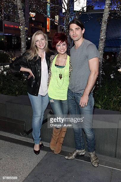 Actress Kara Killmer singer Lacey Brown and musician Justin Gaston attend the Nokia Plaza LA LIVE event on March 19 2010 in Los Angeles California