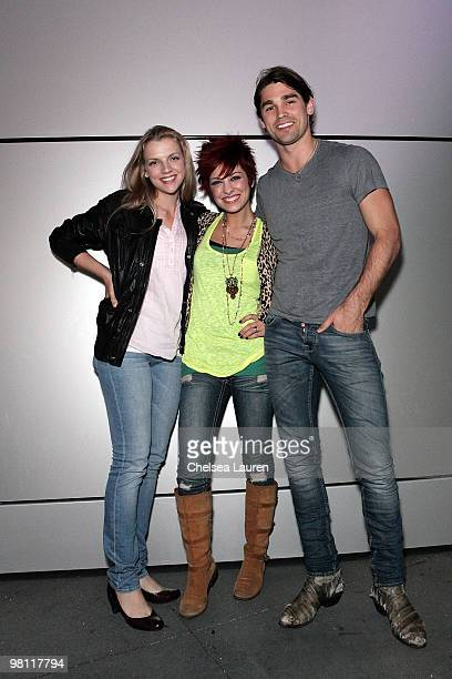 LOS ANGELES CA MARCH 19 Actress Kara Killmer singer Lacey Brown and musician Justin Gaston attend the Nokia Plaza LA LIVE event on March 19 2010 in...